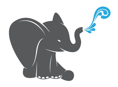african grey: Vector image of an elephant spraying water on a white background