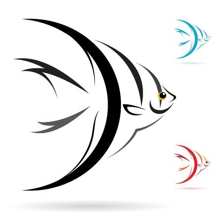 engel tattoo: Bild von einem Engel Fisch auf wei�em Hintergrund Illustration