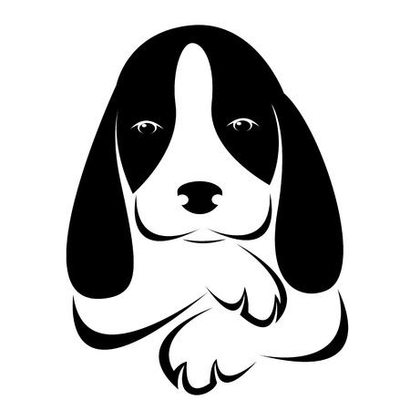 beeld van een hond op een witte achtergrond Stock Illustratie