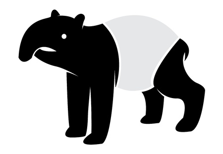image of an tapir on white background  Vector