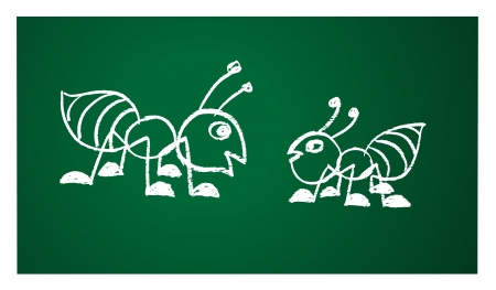 working animals: image of a ant on the blackboard Illustration