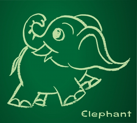 image of a elephant on the blackboard Vector