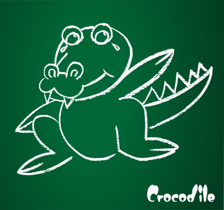 image of a crocodile on the blackboard Vector