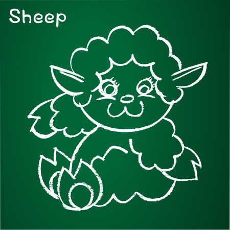 image of a sheep on the blackboard Vector