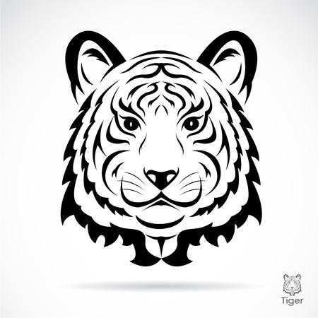 silueta tigre: Silueta de la cabeza del tigre. Ilustración vectorial aislado sobre fondo blanco.