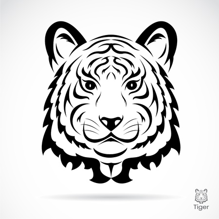 siberian tiger: Tiger head silhouette. Vector illustration isolated on white background.