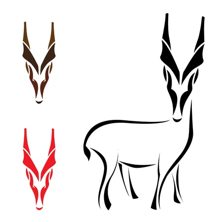 Silhouette goral on  white background, vector Stock Vector - 19284109