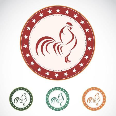cockerel: Set of vector cock label on white background Illustration