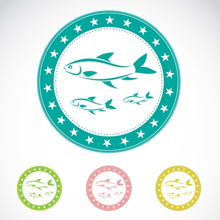 insignia: Set of vector fish label on white background