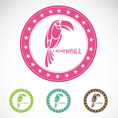 hornbill: Set of vector hornbill label on white background Illustration