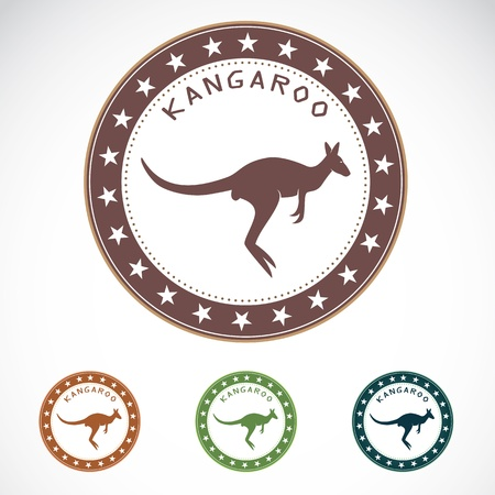 australia stamp: Set of vector kangaroo label on white background