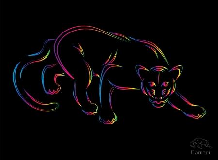 illustration of panther symbol - tattoo Vector Illustration