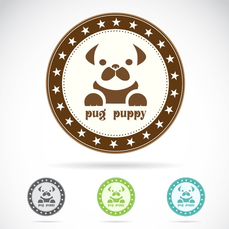 Set of pug puppy label on white background Vector