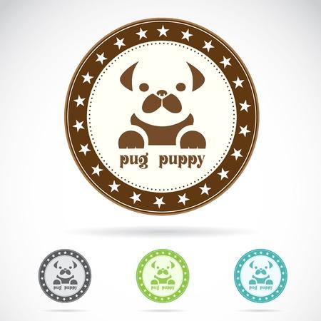 pet shop: Set of pug puppy label on white background Illustration
