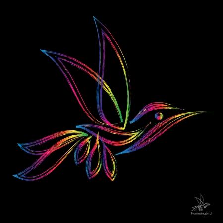 image of an  hummingbird on black background