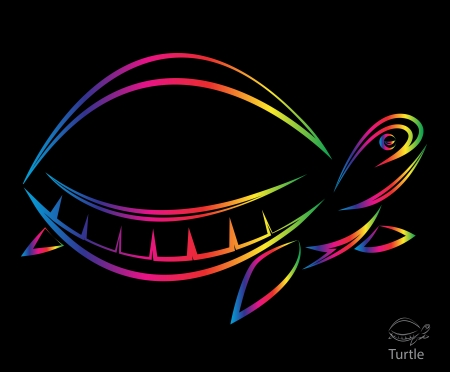image of an turtle on black background Stock Vector - 19372412