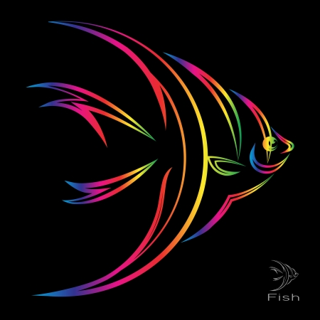 fish tank: image of an angel fish on black background  Illustration