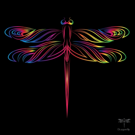 dragonfly wings: image of an dragonfly on black background  Illustration