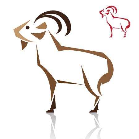 cabras: Vector de imagen de una cabra en el fondo blanco