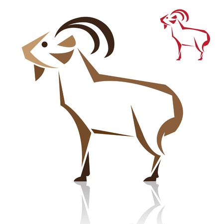 capra: Vector image of an goat on white background