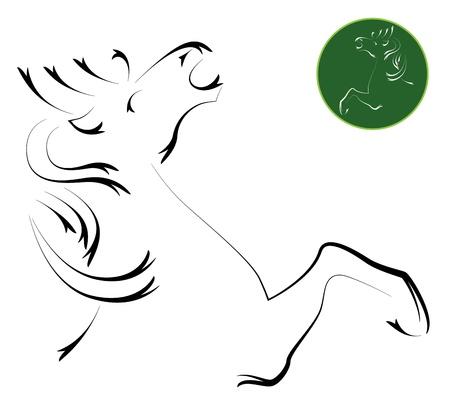 free riding: Vector immagine di un cavallo, illustrazione - vettore Vettoriali