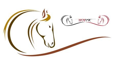 paardenhoofd: Vector hoofd van het paard op een witte achtergrond Stock Illustratie