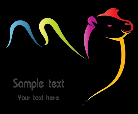 Vector image of camel on black background Vector