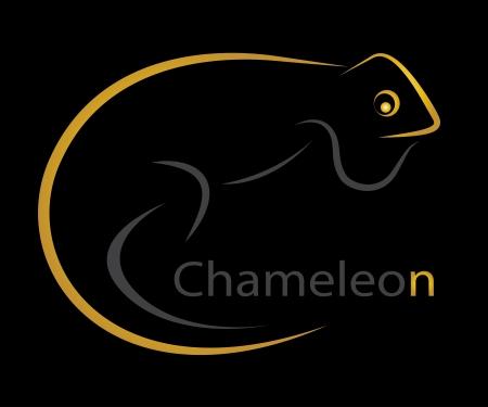 Vector image of an chameleon on black  background Vector