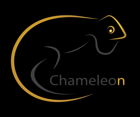 Vector image of an chameleon on black background