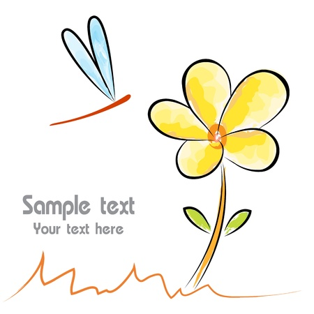 Vector image of an flower and dragonfly on white background