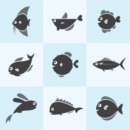 Set of vector fish icons on blue background Vector
