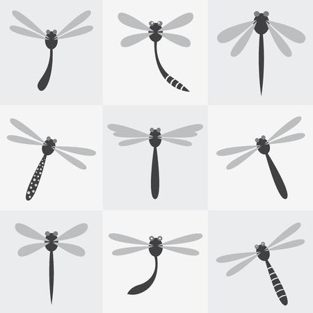 Conjunto de vectores iconos lib�lula sobre fondo gris Foto de archivo - 19943432