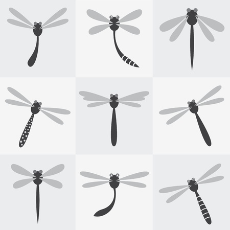 dragonflies: Set of vector dragonfly icons on gray background Illustration