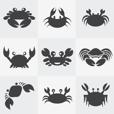 cangrejo: Conjunto de vectores iconos de cangrejo sobre fondo gris