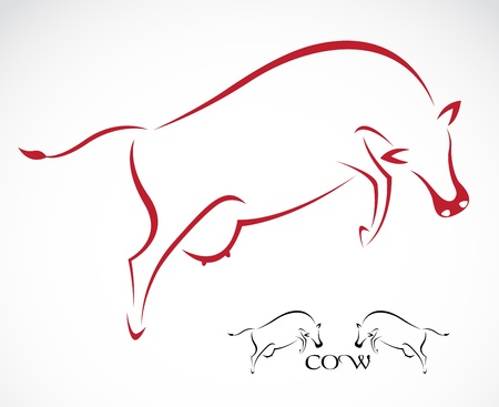 animal silhouette: Vector image of an cow on white background