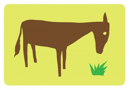 Vector image of a horse eating grass