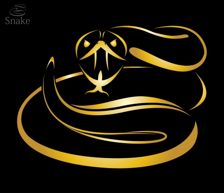 Vector image of a golden snake on black background Vector