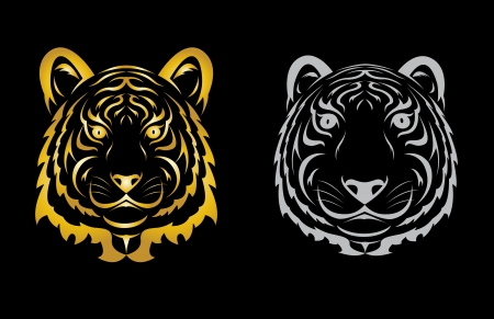 Tiger head silhouette  Vector illustration isolated on black background  Vector