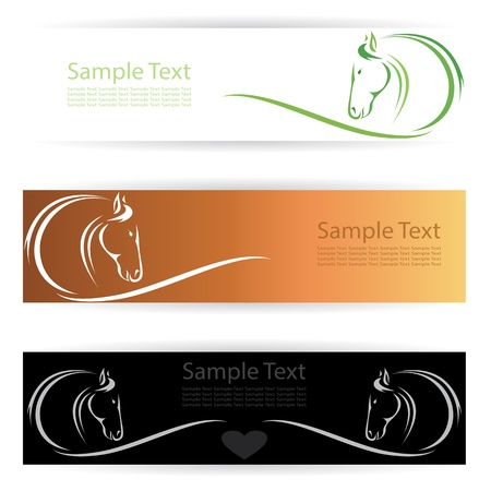 horse riding: Vector image of an horse banners . Illustration