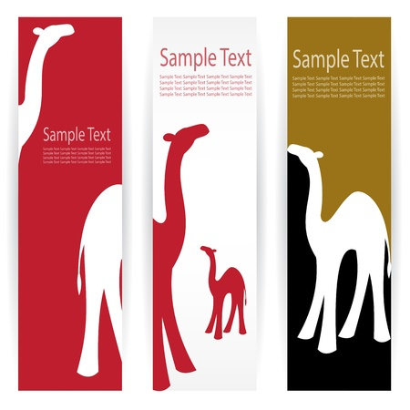 humped: Vector image of an camel banners .