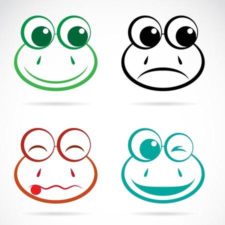 smiling frog: Vector de imagen de una cara de rana en el fondo blanco Vectores