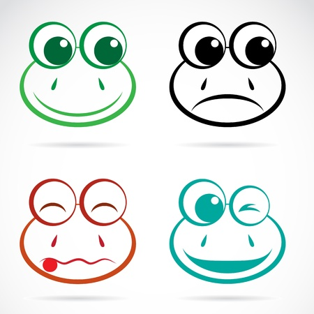 green face: Vector image of an frog face on white background