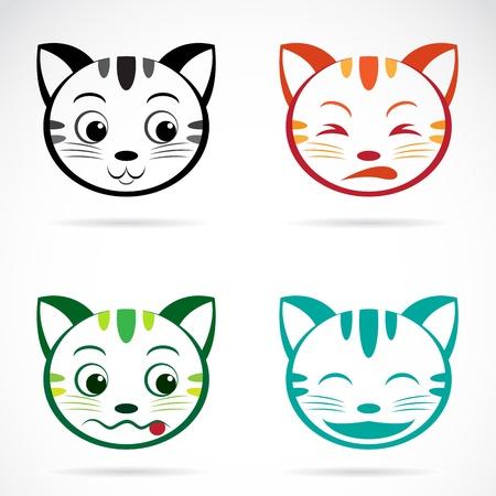 cartoon poes: Vector beeld van een kat gezicht op witte achtergrond