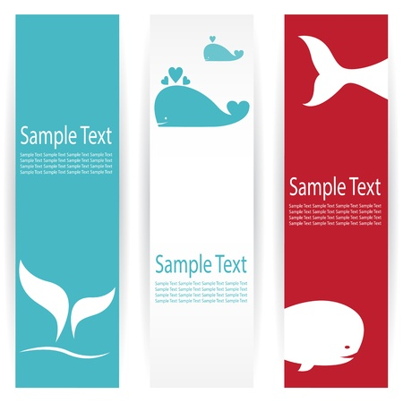 Vector image of an whale banners . Vector
