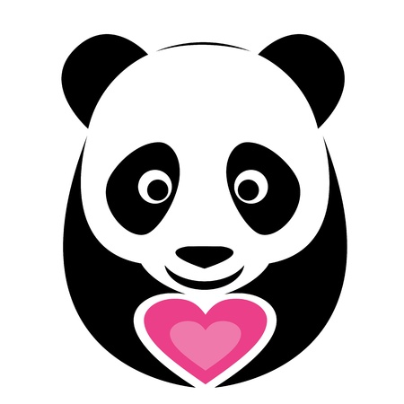 image of an panda and pink heart  Vector