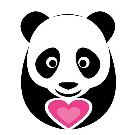 oso panda: imagen de un oso panda y el corazón de color rosa Vectores