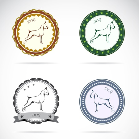 great seal: Set of dog label on white background Illustration