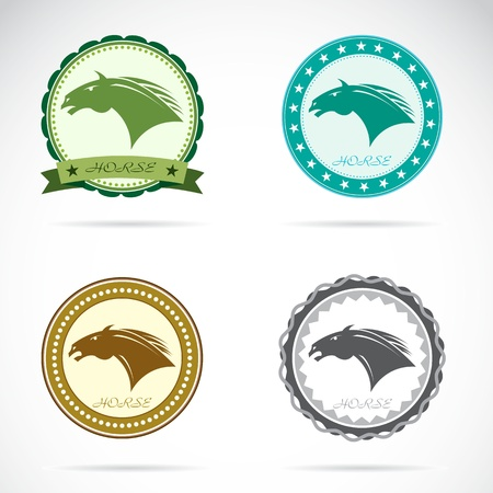 Set of horse label on white background Vector