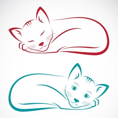 cartoon poes: beeld van een kat op een witte achtergrond Stock Illustratie