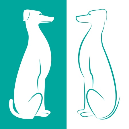 image of an dog on white and cerulean background  Vector